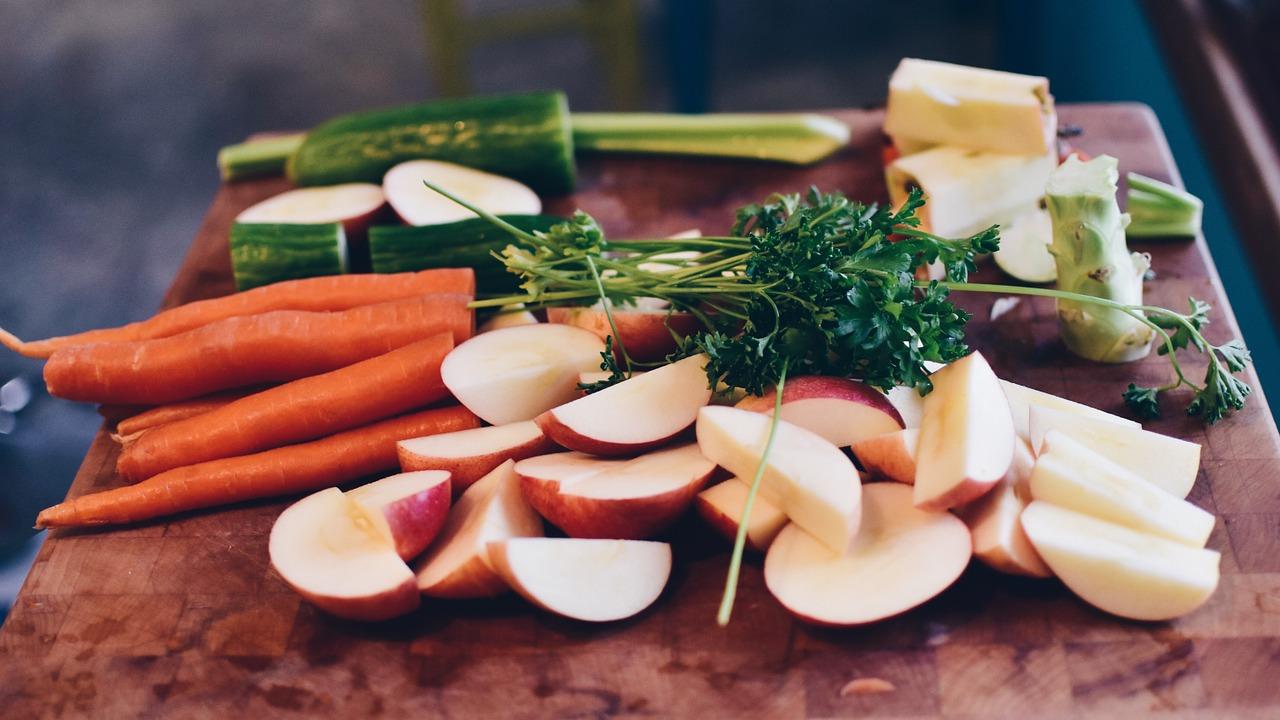 giving up sugar fruits parsley on cut board