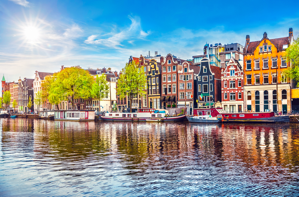 Viking Grand European Tour Amsterdam colorful houses on canal