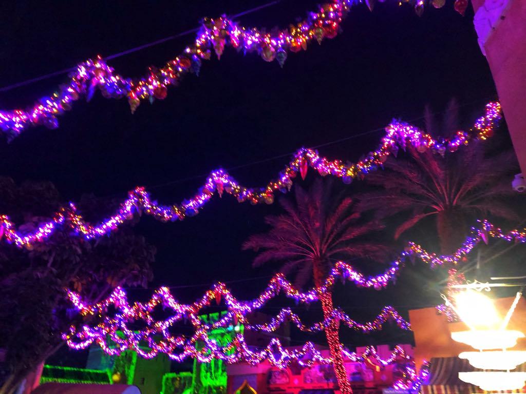 BG Christmas town overhead lights