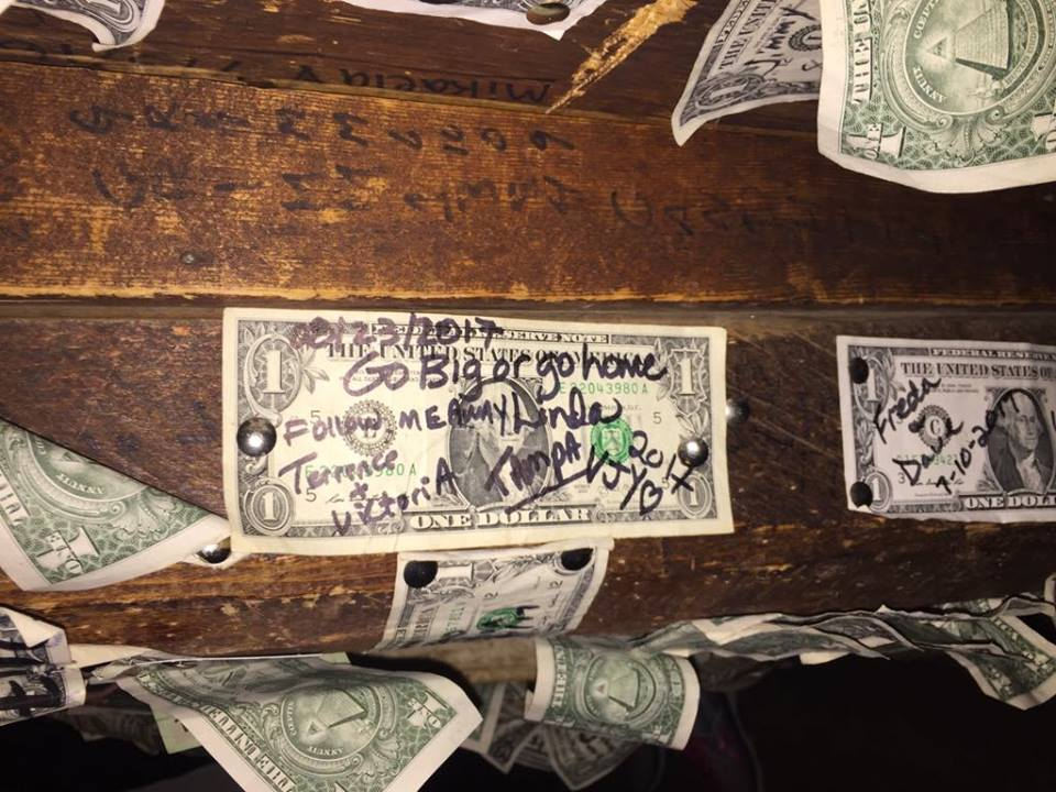 herre is the dollar I left at the Salty Dawg Saloon in Homer AK