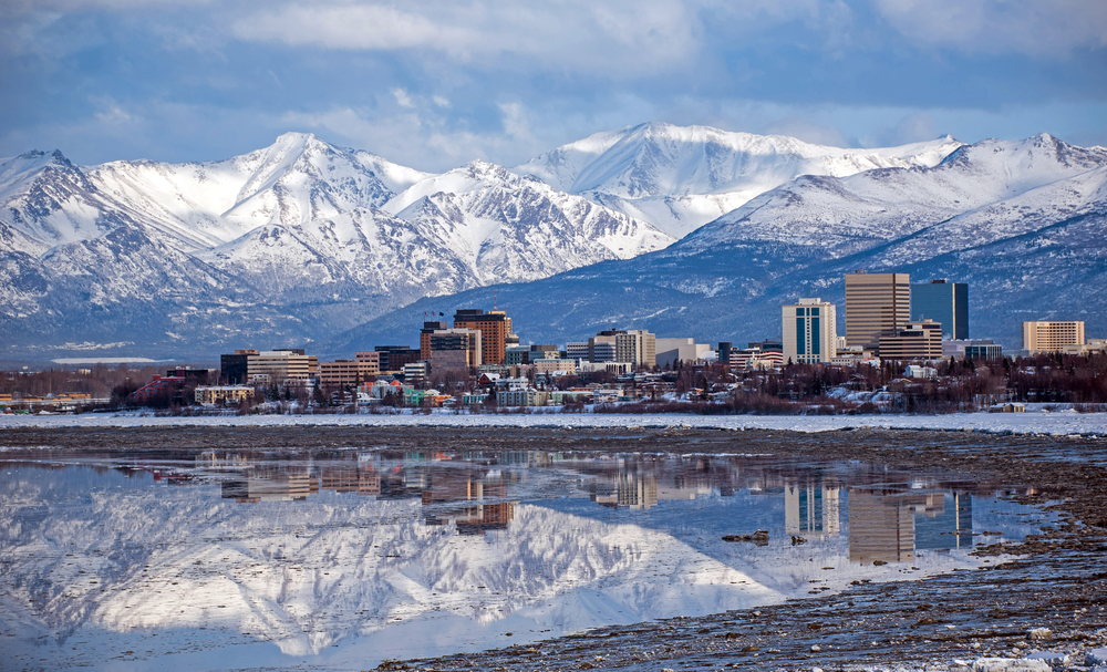 Anchorage to Seward Anchorage skyline