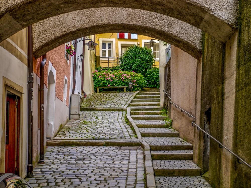 Passau Germany cobblestone street