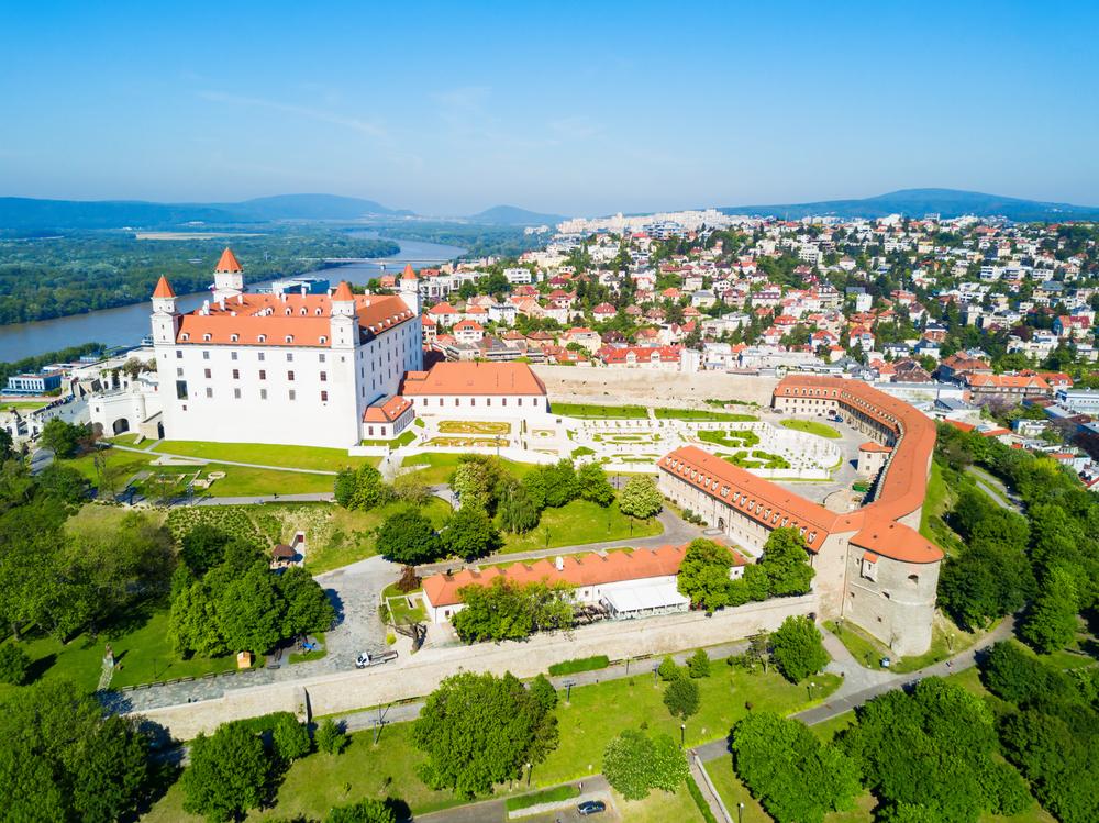 Things to do in Bratislava drone shot of Bratislava Castle