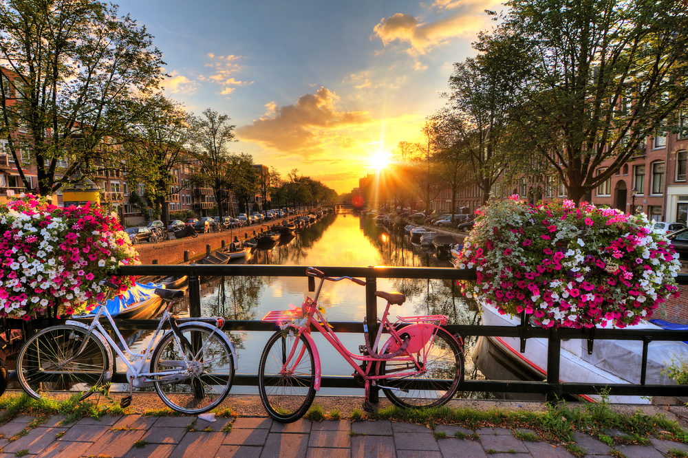 1 day in Amsterdam bicycles at sunrise
