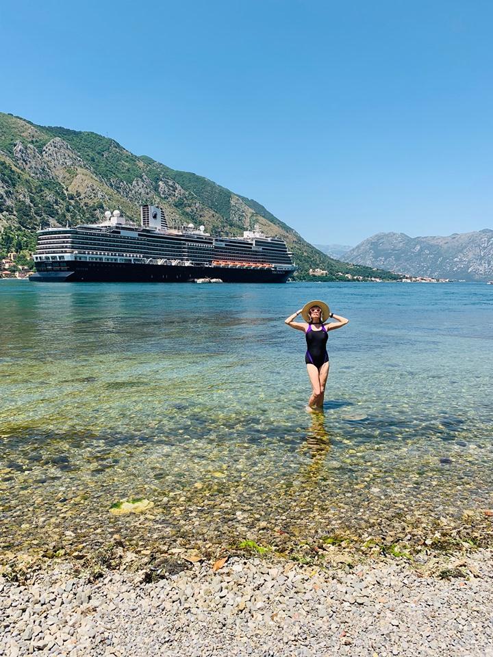 Holland America Mediterranean Konindsdam docked in the Bay of Kotor.