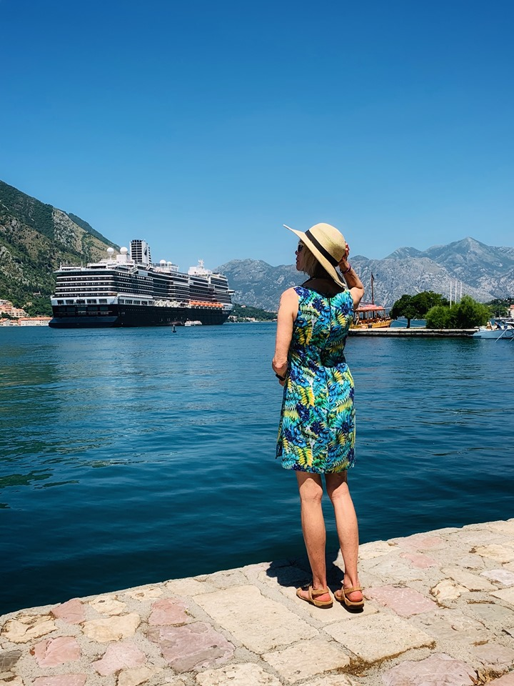 Holland America Mediterranean Cruise ship docked in the Bay of Kotor