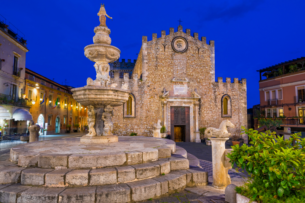 Things to do in Taormina Fortress cathedral at night
