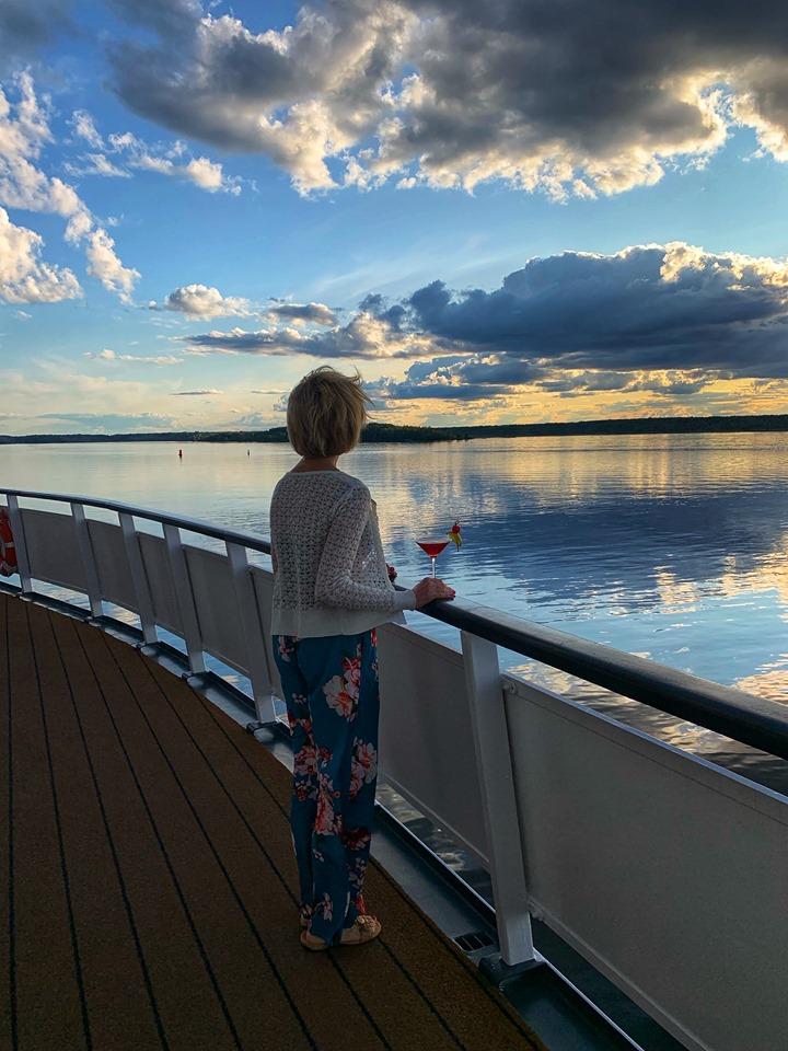 Russian River Cruise Linda looking at sunset