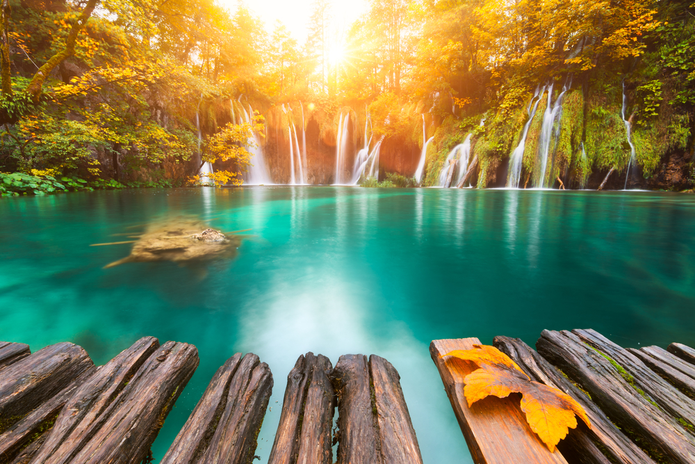 When visiting Croatia you can see Plitvice National Park and its waterfalls