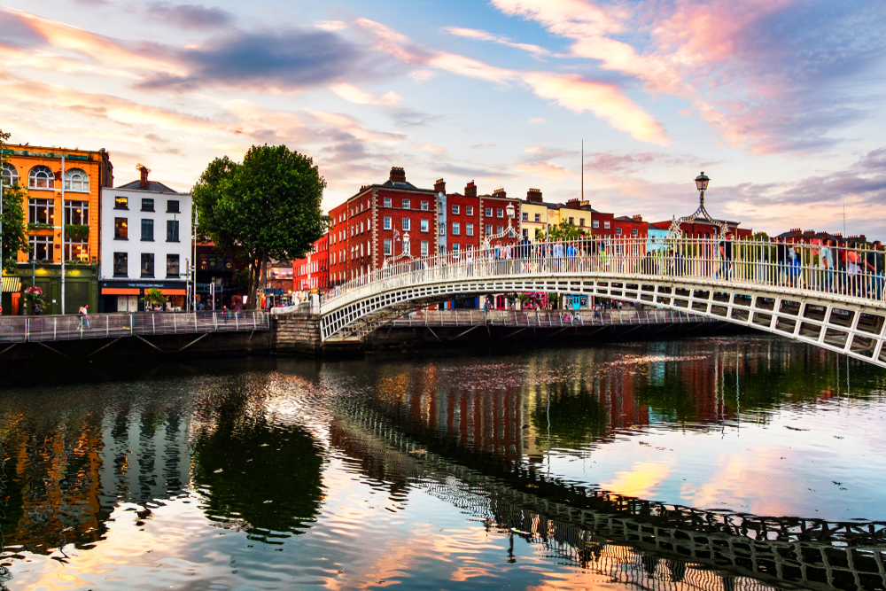 visiting Dublin is a great experience. Here is Ha' Penny Bridge at sunset
