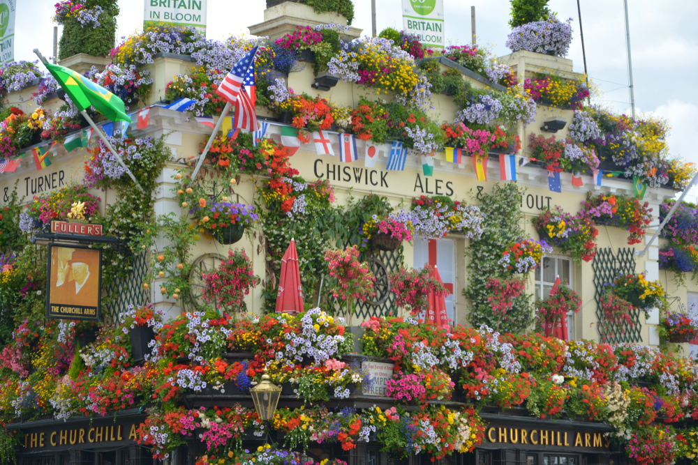 Hidden Gems in London flower adorned Churchill Arms