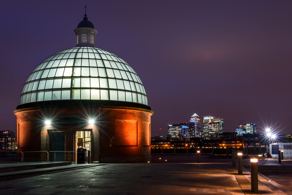 Lighted glass dome leading to the greenwich foot tunnel