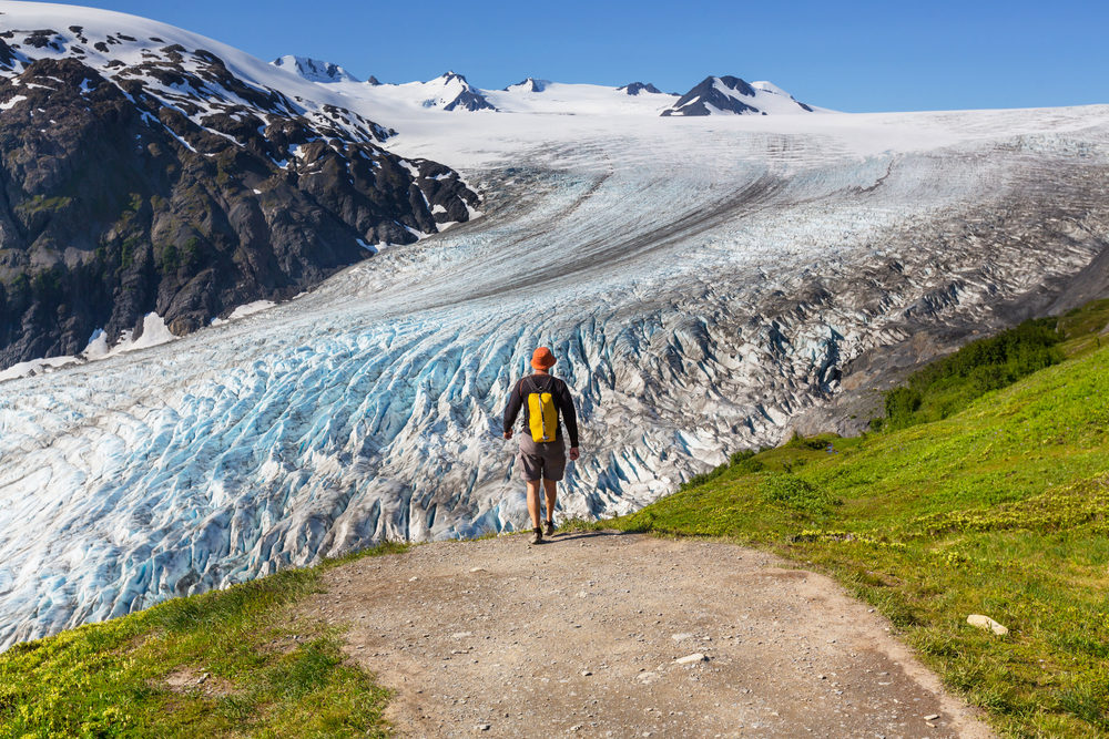 A hiker on Exit Glacier Alaska