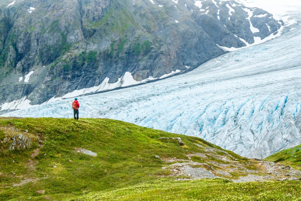 Exit Glacier Alaska hiker