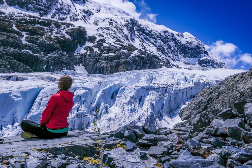 Gazing at the blue ice of Exit Glacier Alaska