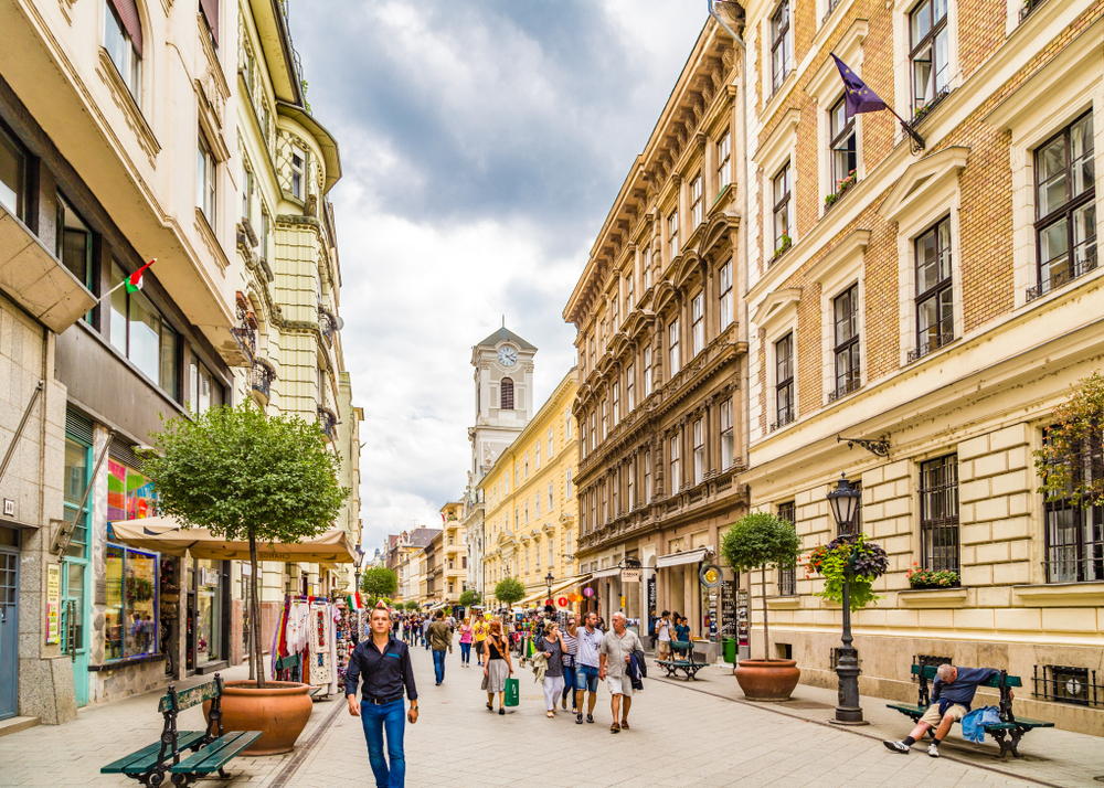 one day in Budapest is enough time to visit busy Vaci Street for souvenirs and dinner