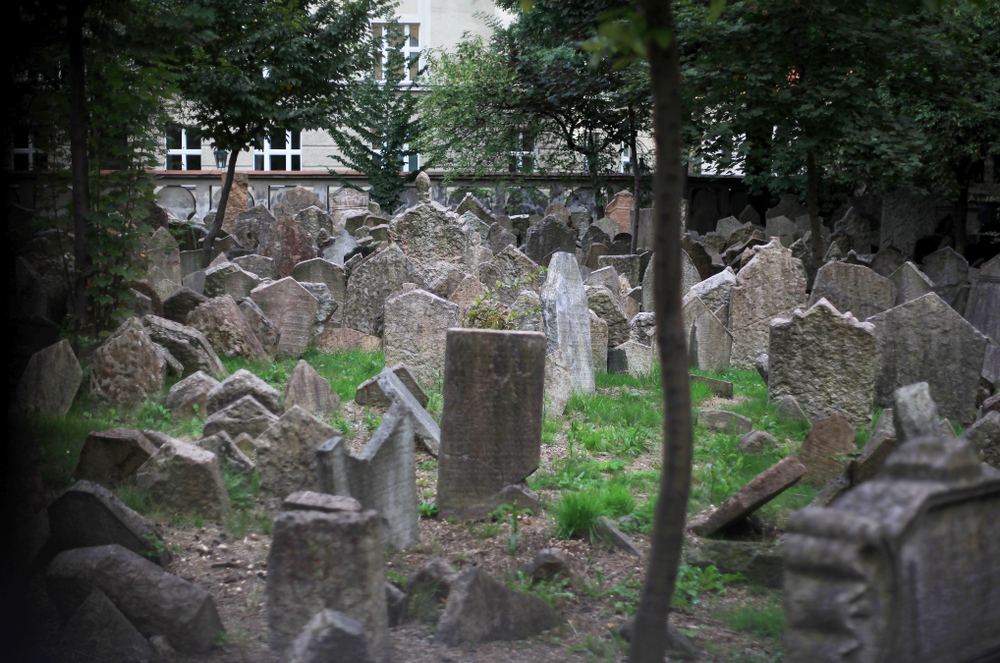 The somber Jewish cemetery is a historical place to visit on your one day in Prague.