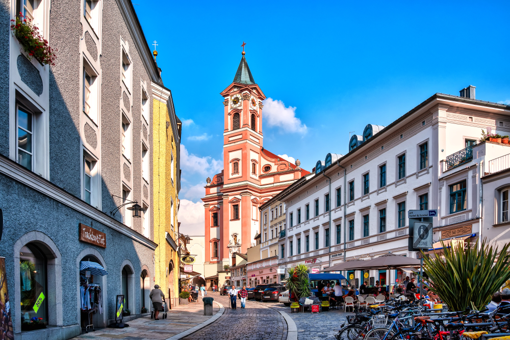 You will notice St Paul Parish Church in Passau Germany by its pink exterior