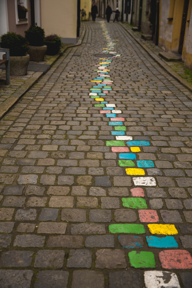 the colorful cobblestones of