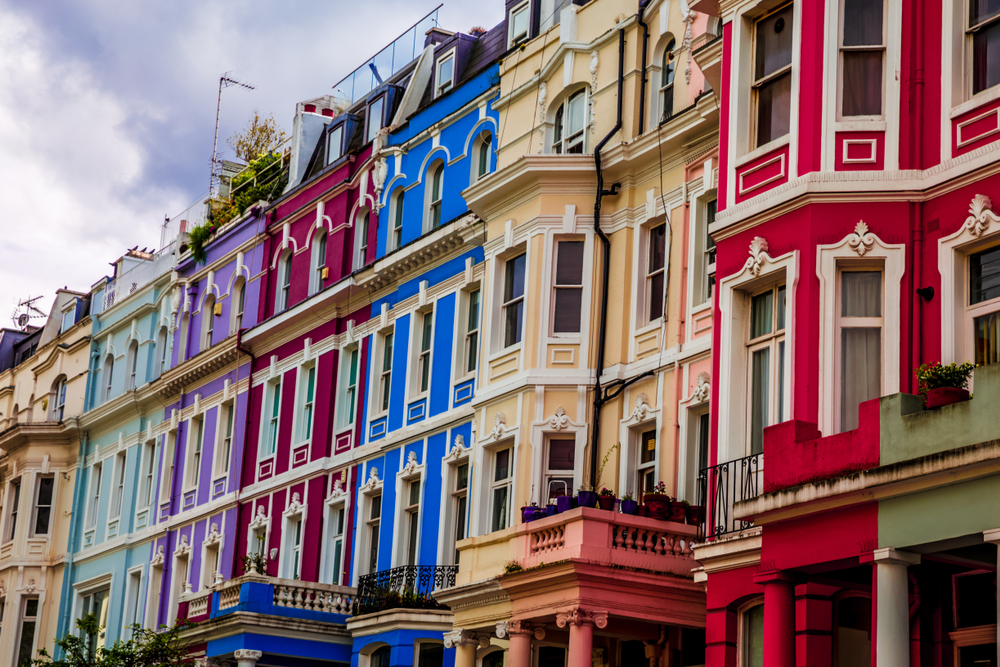 Colorful townhomes are popular in Notting Hill