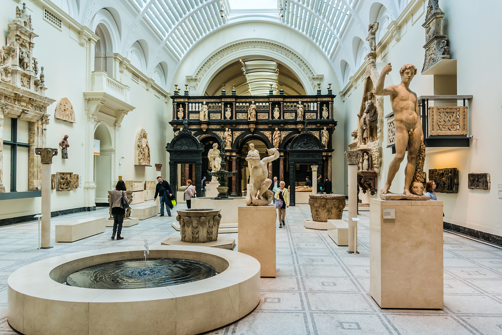 The lovely Victoria and Albert Museum is free to visit during your first time in London