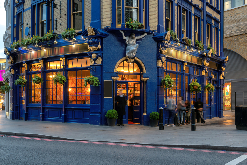 There are lots of pubs to explore in London like this beautiful blue one