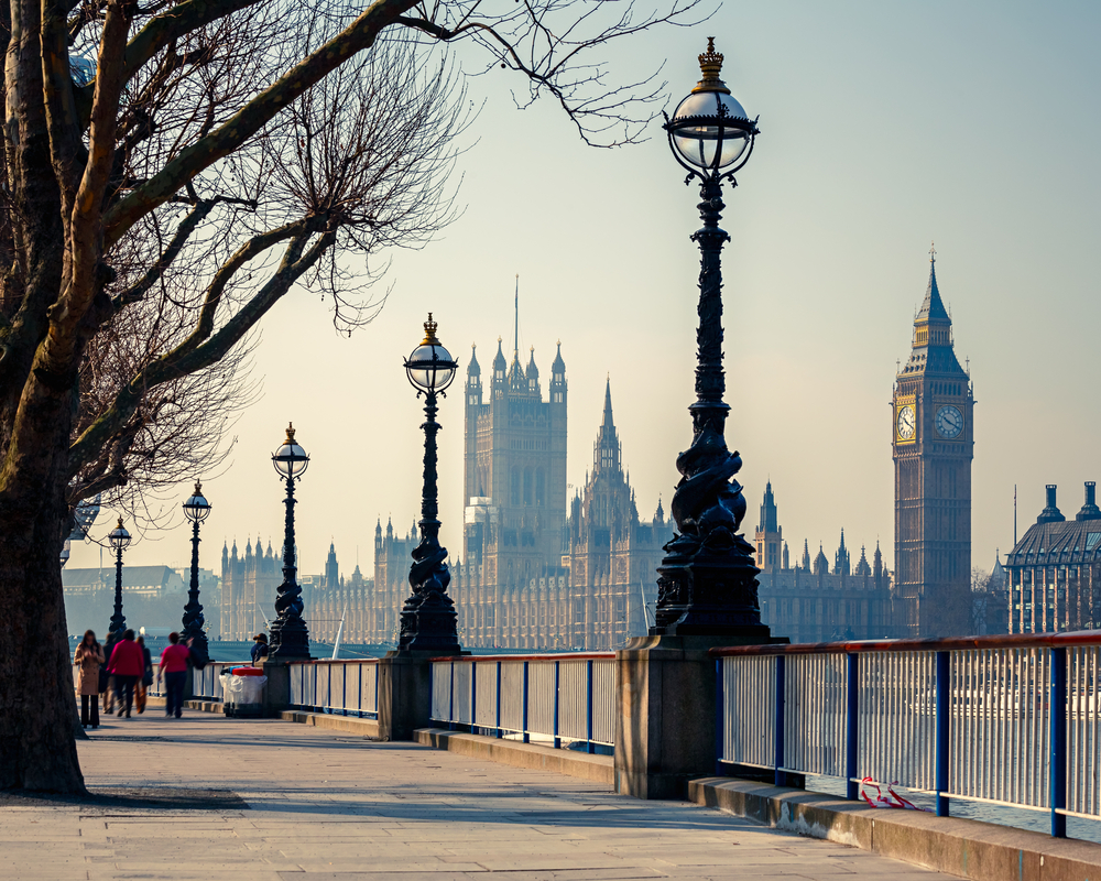 This lovely street offers beautiful views of Parliament Building in London