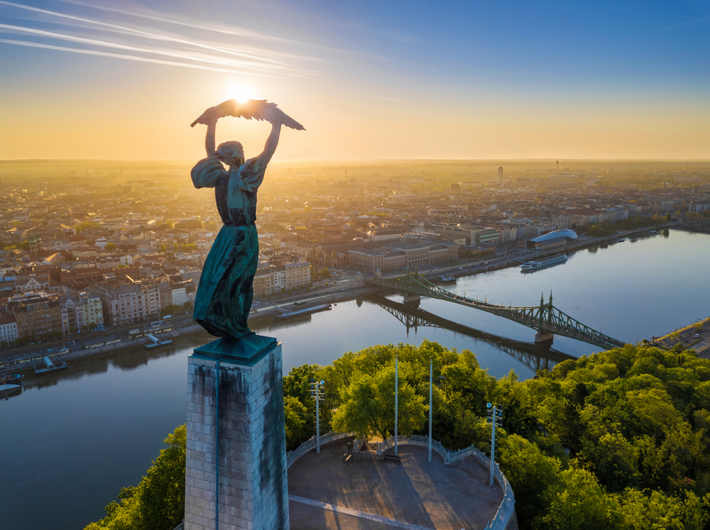 Hungary's Statue of Liberty stands tall on top of Budapest.