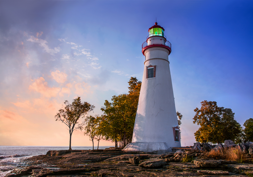 Marblehead Lighthouse on Lake Erie at sunrise is beautiful