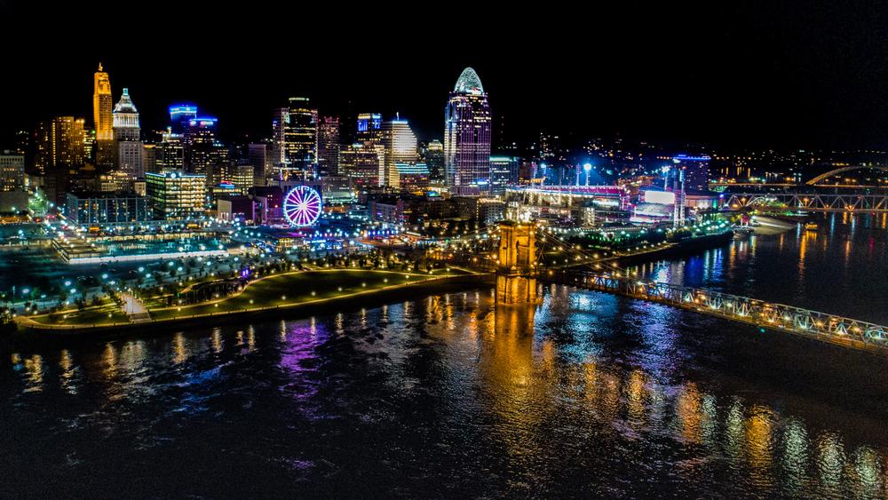 Cincinnati illuminated at night is beautiful