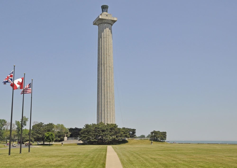 The Perry Victory and International Peace Monument is on the shores of Lake Erie