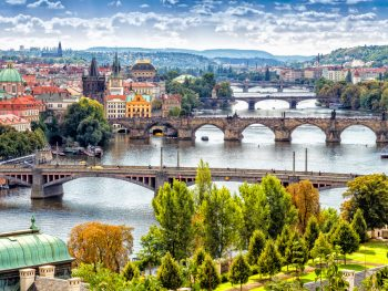 The Vltava River bisects Prague Czechia