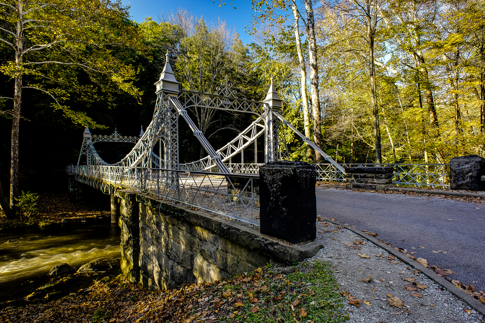visiting the opulent suspension bridge is one of the cool things to do in Mill Creek park