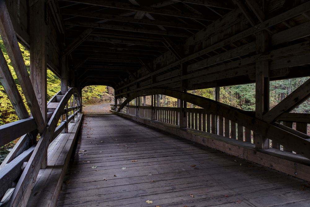 One of the scenic things to do in Mill Creek Park is visit the historic covered bridge