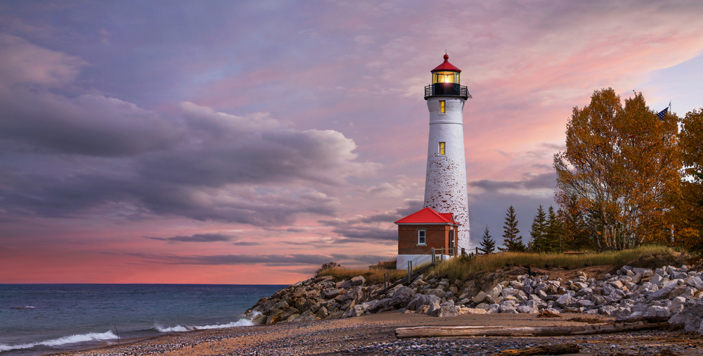 Beautiful Michigan lighthouse in the sunset