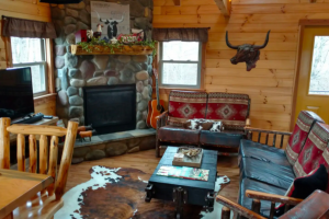 sitting area with stone fireplace, rustic red cushions, and a longhorn statue