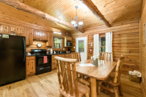 light wood kitchen with dining table cabins in Ohio