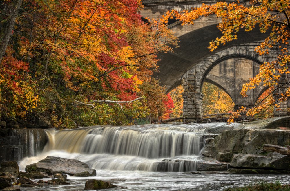Berea Falls, located outside Cleveland shows off spectacular Ohio fall foliage!