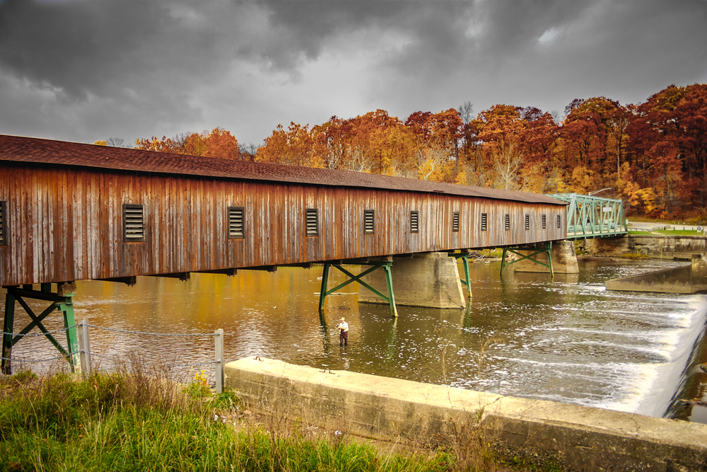 Fall Foliage in Ohio is spectacular especial when viewing covered bridges