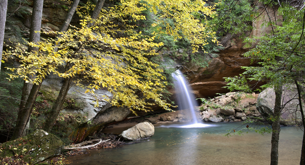 Hocking Hills State Park is one of the best places to see fall foliage in ohio.