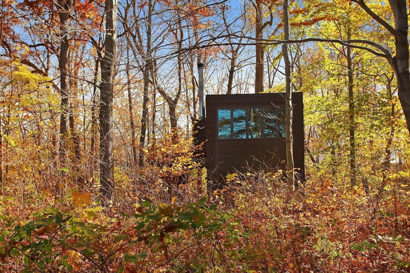 Cabin in Indiana surrounded by autumn foliage