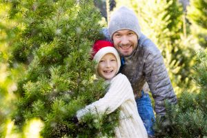 father and son at Christmas tree farm