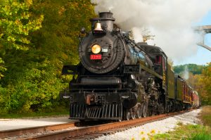 black train steaming through greenery Christmas in Ohio