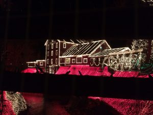 clifton mill decked out in Christmas lights