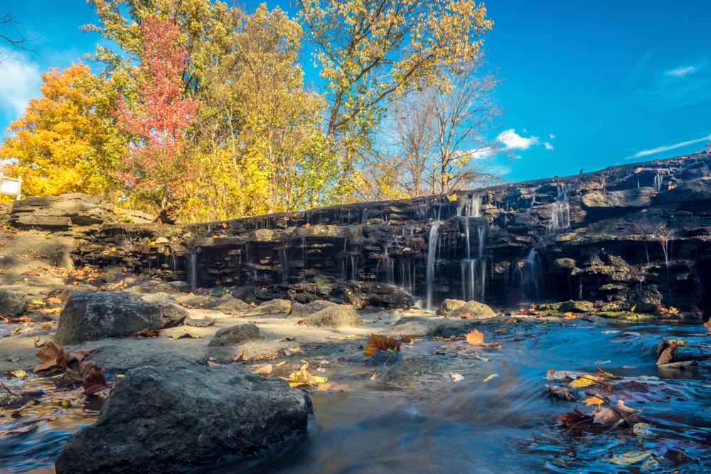 Cincinnati nature in autum, a beautiful waterfall