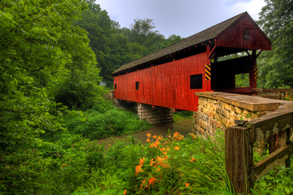Best Pennsylvania Airbnb, a lovely red covered bridge in Pennsylvania