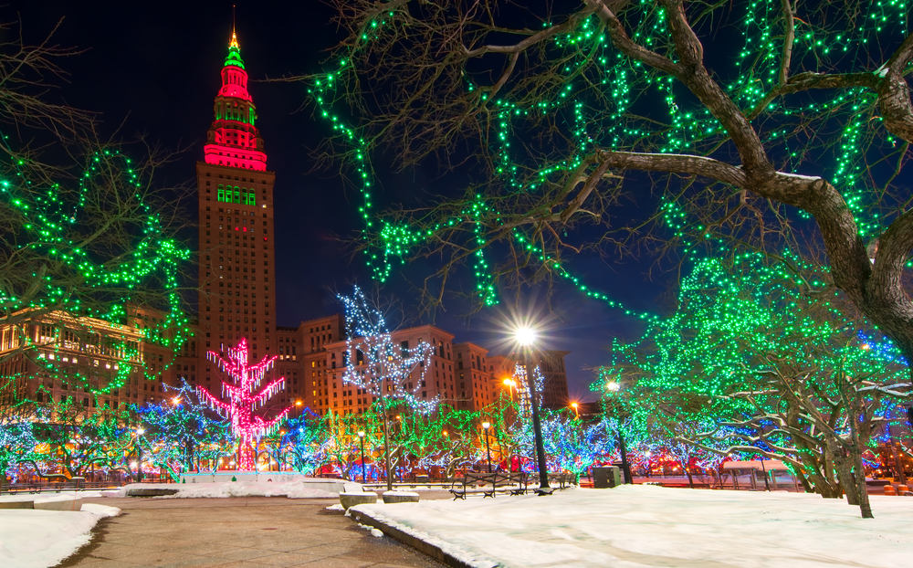 festive wintertime Cleveland around Christmas