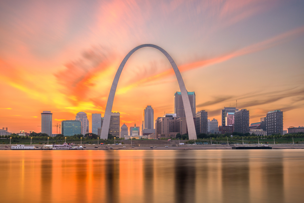 The spectacular Gateway Arch in St. Louis Missouri with the sunset in the background