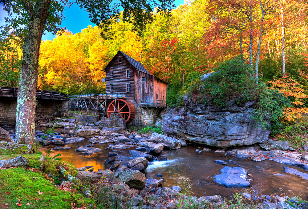 Beautiful West Virginia countryside with autumn colors and mill