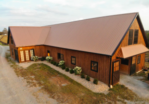exterior of large, modern barn Airbnbs in Kentucky
